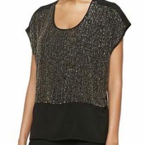 NWT Eileen Fisher Sequin Silk top Sz L, Stunning